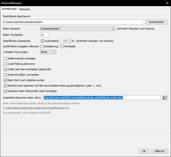 Arduino IDE für ESP8266/NodeMCU/D1 Mini einrichten