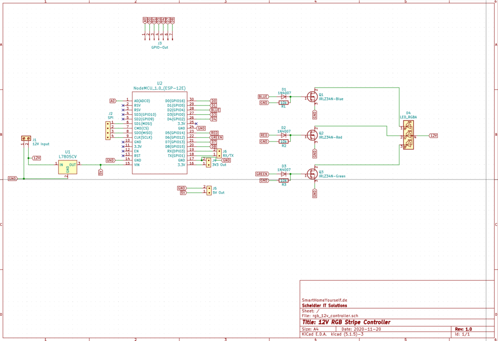 WLAN 12V-RGB-LED Controller Schaltplan