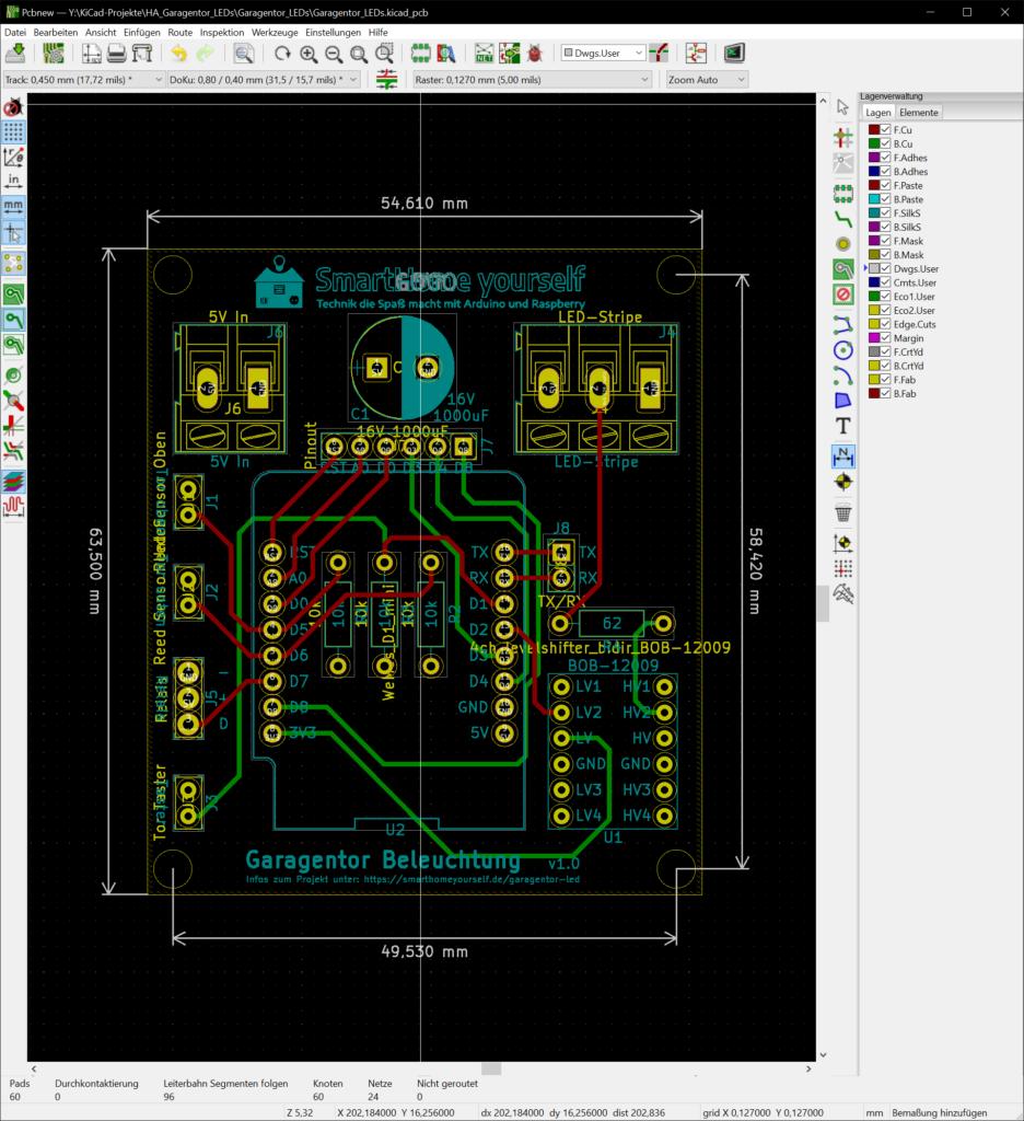 PCB Garagentor mit einer RGB-LED Animation